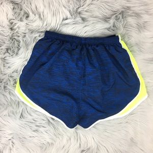 Nike Shorts - Nike Dri-Fit Tempo Shorts Blue Stripe Neon Yellow